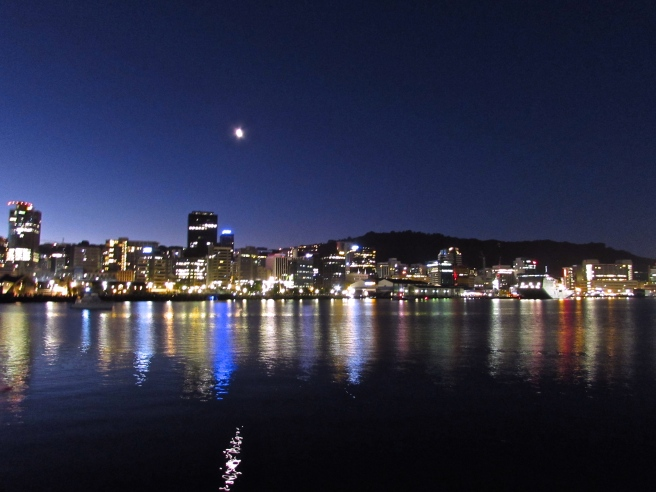 Wellington Harbour Night Lights New Zealand